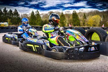 Karts on race grid