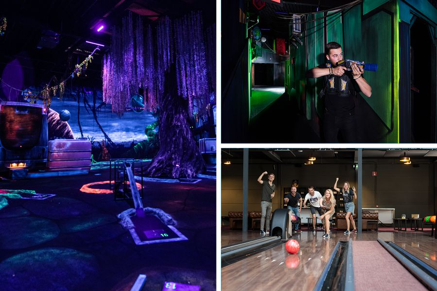 Glow in the dark Golf, lasergamen & Bowlen